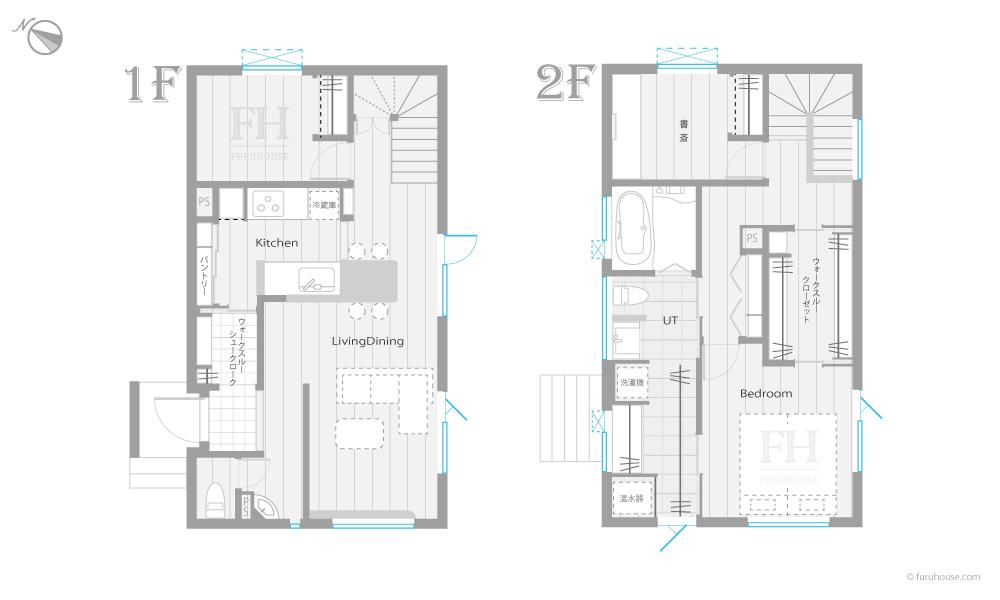 間取り 2階風呂 2階ユーティリティ 1階リビング
