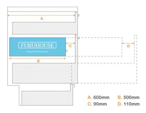DIY キッチン スライドレール 引き出し サイズイメージ